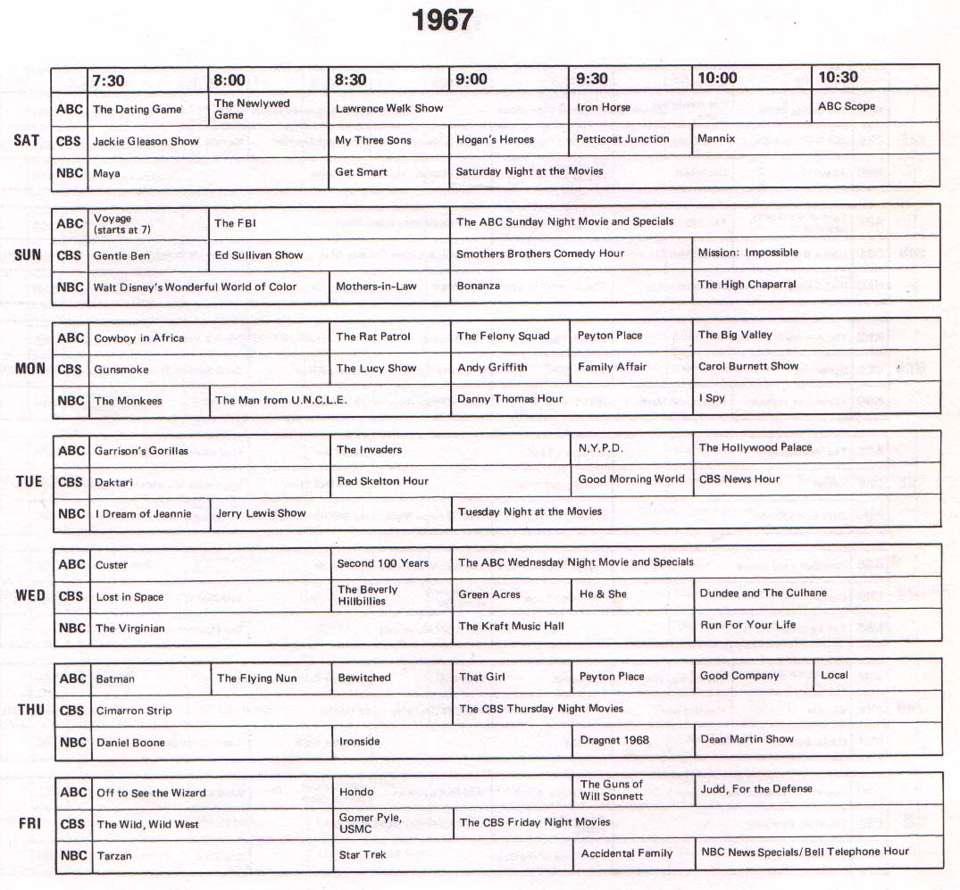 out the TV schedule for 1967.